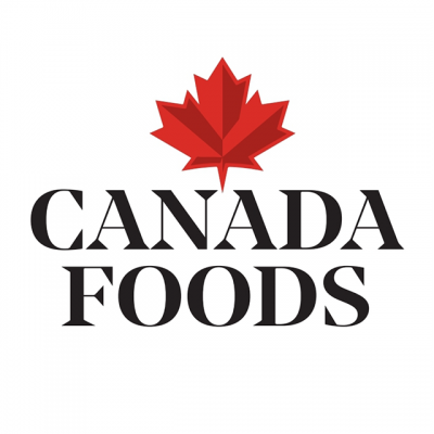 """""""Canada Foods"""" Logo With A Red Leaf"""
