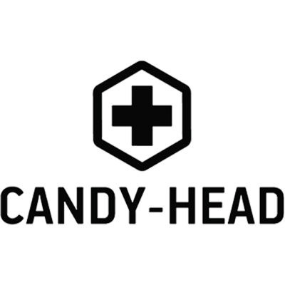 """""""Candy-Head"""" Logo With A Black Cross In A Hexagon"""