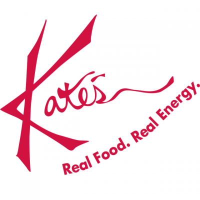 """""""Kate's: Real Food. Real Energy"""" Logo In Red Letters"""
