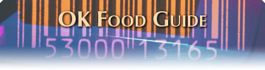 """Picture of a Barcode with """"OK Food Guide"""" Over Top"""