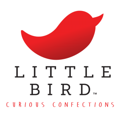 """""""Little Bird: Curious Confections"""" Logo With A Red Bird"""