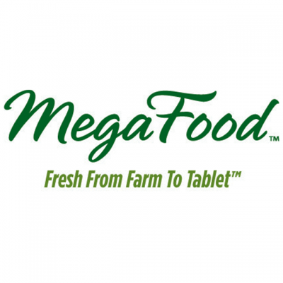 """""""MegaFood: Fresh From Farm To Tablet"""" Logo In Green Letters"""