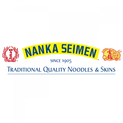 """""""Nanka Seimen Since 1905: Traditional Quality Noodles & Skins"""" Logo With Red Japanese Drawings"""