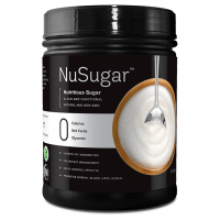 """Black Container With """"NuSugar: Nutritious Sugar"""" Labeled On The Front And A Picture Of A Bowl Of Sugar"""