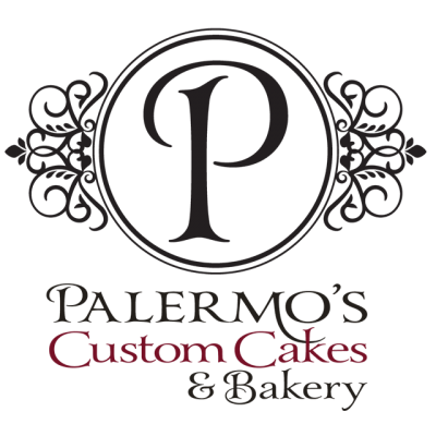 """""""Palermo's Custom Cakes & Bakery"""" Logo Of A 'P' As The Center Of A Black Drawing"""