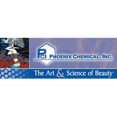 """""""PCI: Phoenix Chemical, Inc. - The Art & Science Of Beauty"""" Logo With A Drawing Of A Dark Haired Woman"""