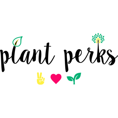 """""""Plant Perks"""" Logo In Black Cursive With Drawings Of A Peace Sign, Heart, And Leaves"""