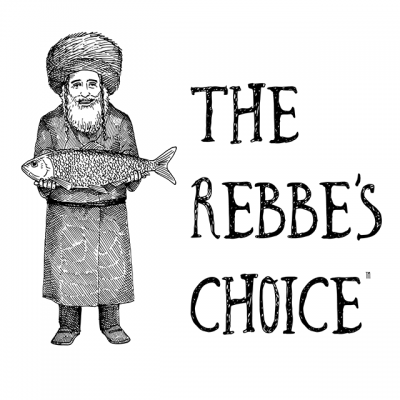 """""""The Rebbe's Choice"""" Logo With A Drawing Of A Man In A Coat And Hat Holding A Fish"""