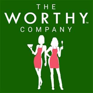 """""""The Worthy Company"""" Logo With Two Cartoon Women In Red Aprons Holding A Bowl And Spoon"""