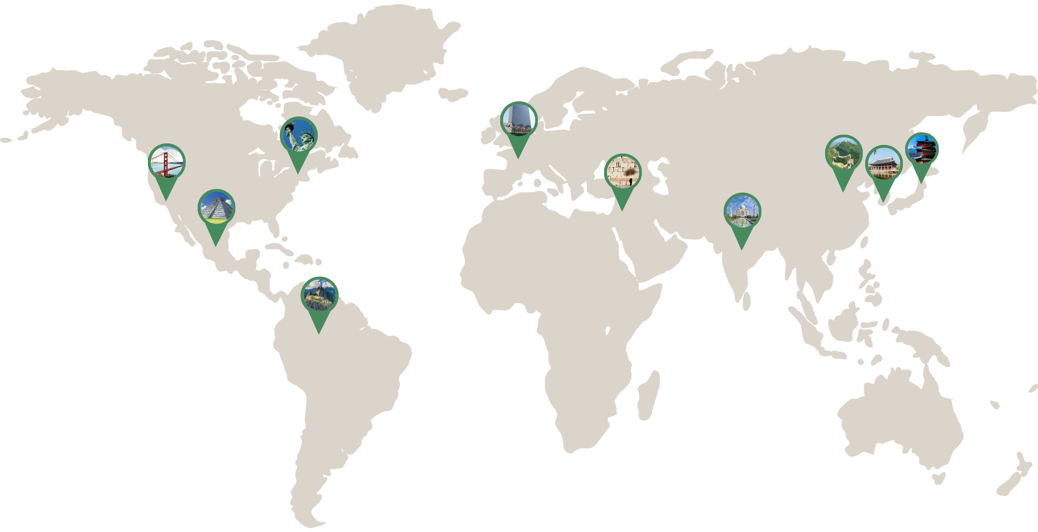 Map Of The World With Green Pins on Major Landmarks Across the Globe