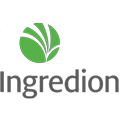 """Grey """"Ingredion"""" Letters With Green Circle Logo Above"""
